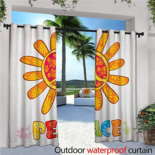 Standing Outdoor Privacy Curtain Peace with Original Nature Flower Design More Empathy for The Earth Moral Theme for Front Porch Covered Patio Gazebo Dock Beach Home W108 x L84 ()