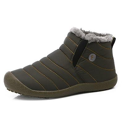 Herren Damen Winterschuhe, Outdoor Rutschfest Schneestiefel Warm Gefütterte Winterstiefel Boots,Grau,37 EU