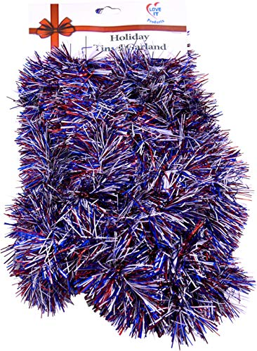 Tinsel Garland 25 ft, Perfect for Christmas, New Year's Eve Celebration, Wedding, Birthdays, Festivities, Special Events, Decorative Accents (Red, White and Blue, 25 ft. -