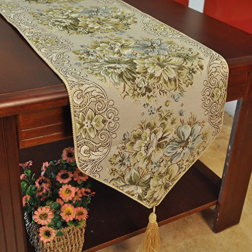 Hiendure Classic Embroidery European Style Tassel Dining Table Runners Sequined Lace Hotel Bed Coffee Table Runners 11inch70.8inch, Green