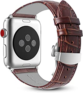 Fintie Leather Band Compatible with Watch 44mm 42mm, Replacement Wrist Bands with Adjustable Butterfly Buckle Compatible with Watch Series 5 Series 4 Series 3 Series 2 Series 1 - Brown