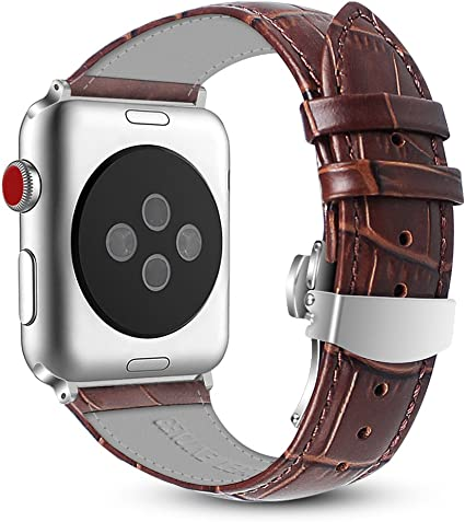 Fintie Leather Band for Apple Watch 44mm 42mm, Replacement Wrist Bands with Adjustable Butterfly Buckle Compatible with Apple Watch Series 5 Series 4 ...