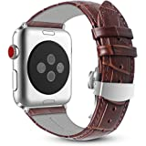 Fintie Correa para Apple Watch 44mm/42mm - Pulsera de Repuesto de Cuero Auténtico Banda con Hebilla de Mariposa para Apple Watch Serie 4 3 2 1 Todos los Modelos, Marrón