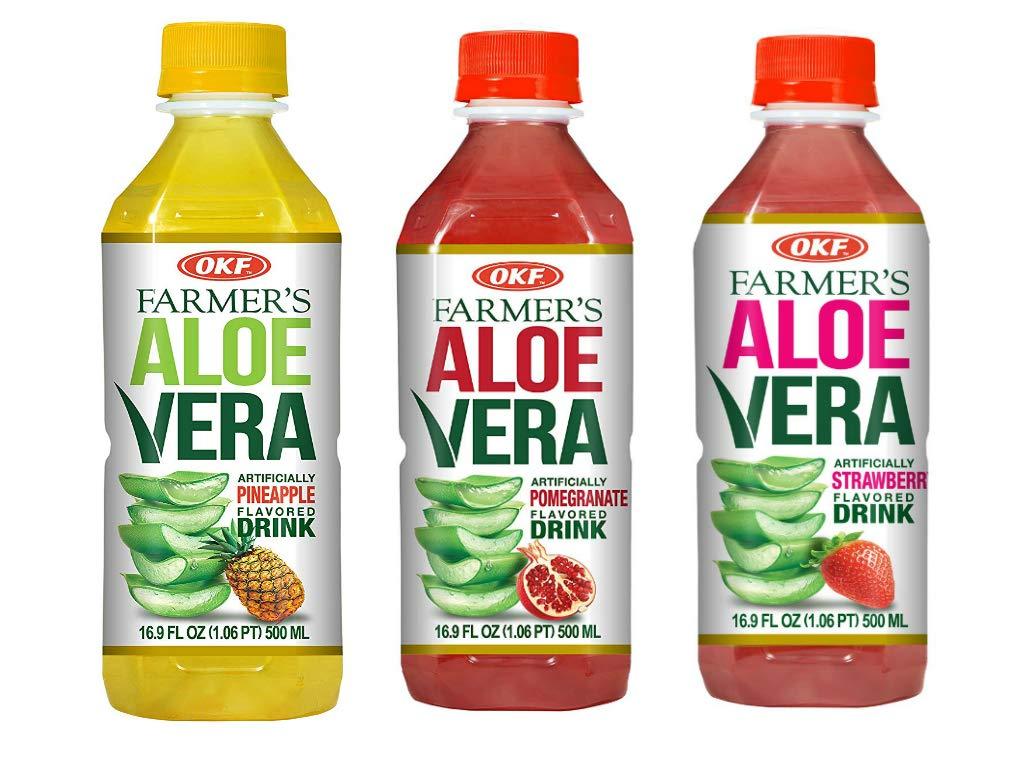 OKF Farmer's Aloe Vera Drink, Pineapple, Pomegranate and Strawberry, 16.9 Fluid Ounce (Pack of 20 each)