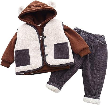 La camiseta del bebé del juego del algodón del invierno, de chándal + Chaleco + Pantalones largos de felpa sistema de la ropa informal, Equipos niño más gruesas traje,Marrón,90cm: Amazon.es: Hogar