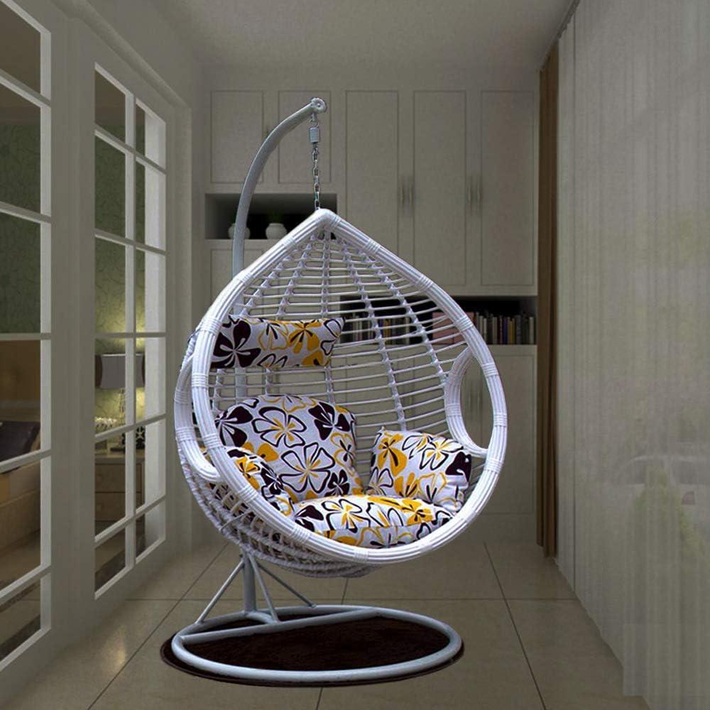 Dsqcai Sky Garden Terrace - Silla giratoria de Mimbre para Exteriores, Canasta Colgante, balcón Interior para el hogar, Silla de Cuna Hamaca, Nido de pájaro, ratán áspero Individual,Blanco
