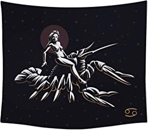 The Universal Signs Astrology Horoscope Zodiac Tapestry Decor Wall Hanging (Cancer) Blanket Bedspread Beach Towels Picnic Mat Home Decor