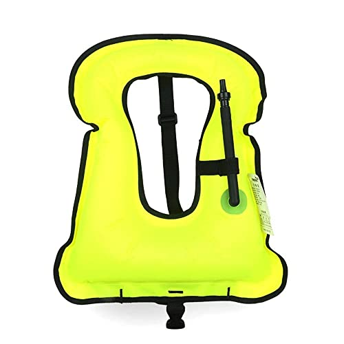 [KuYou] Adult Snorkel Vest Life Vest Jacket for Snorkeling/Paddle/Swimming /Free-Diving Dive Safety Water Safety TPU Inflated, High Visibility, Durable, Lock oral Valve. (Green)