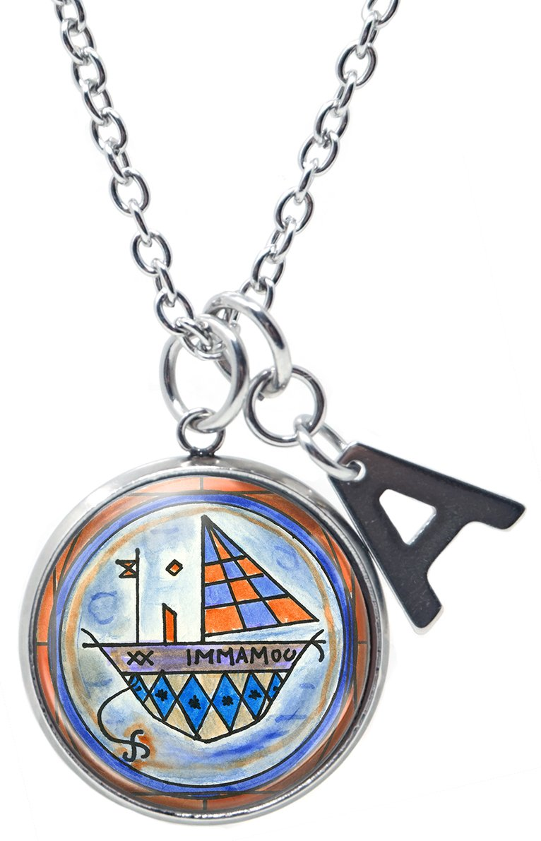 Met Agwe Protection Animals Travel Voodoo and Initial Charm Steel 24'' Necklace