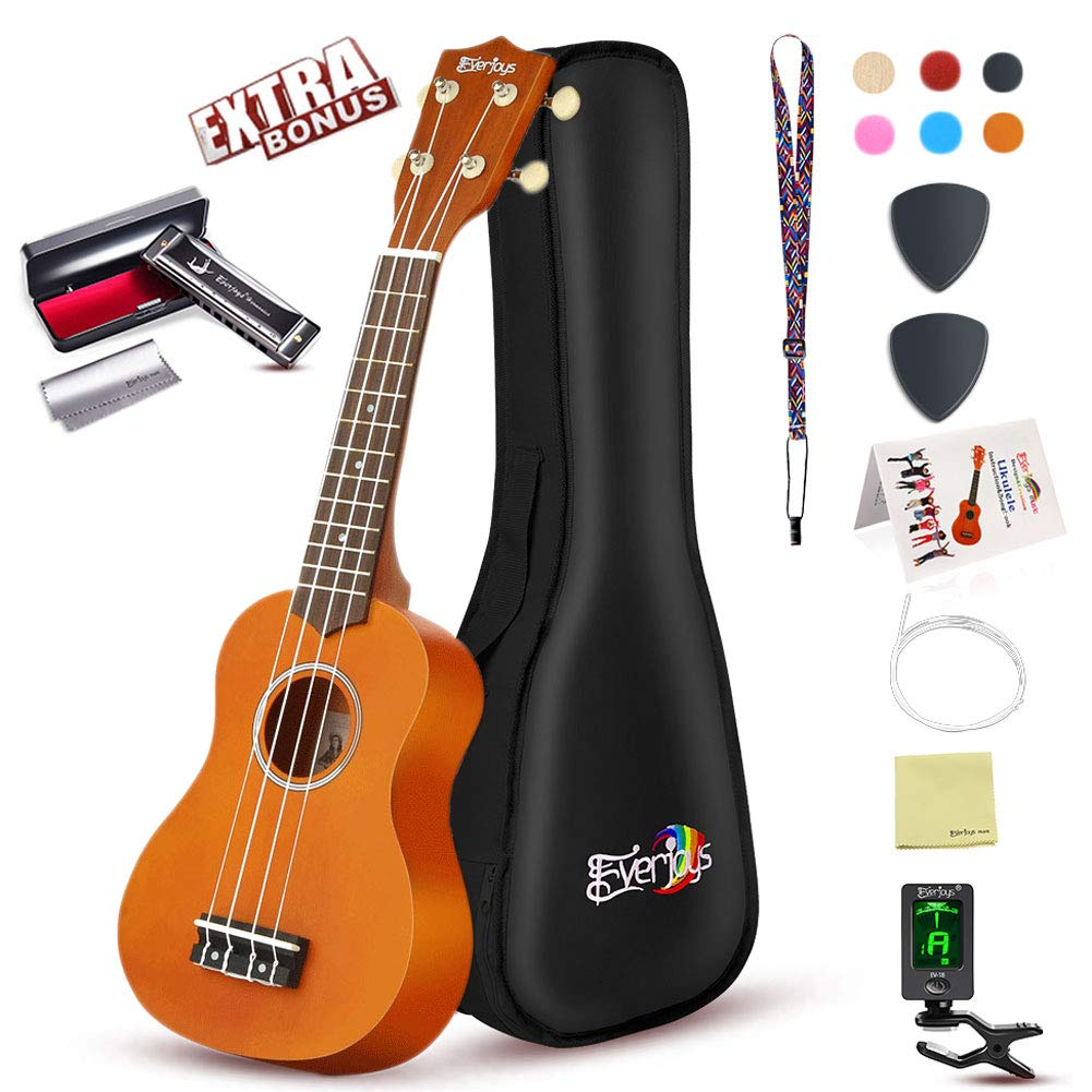 Soprano Ukulele Beginner Pack-21 Inch w/Gig Bag How to Play Songbook Digital Tuner All in One Kit (Blue) Everjoys 001