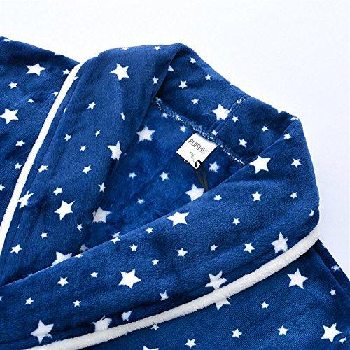 Blu Inverno XL Flanella Colore Accappatoio stelle lunghe Accappatoio da Coppia Red a Modello Dimensione OHlive Ispessimento Camicia maniche Pigiama notte H5qUpxwE
