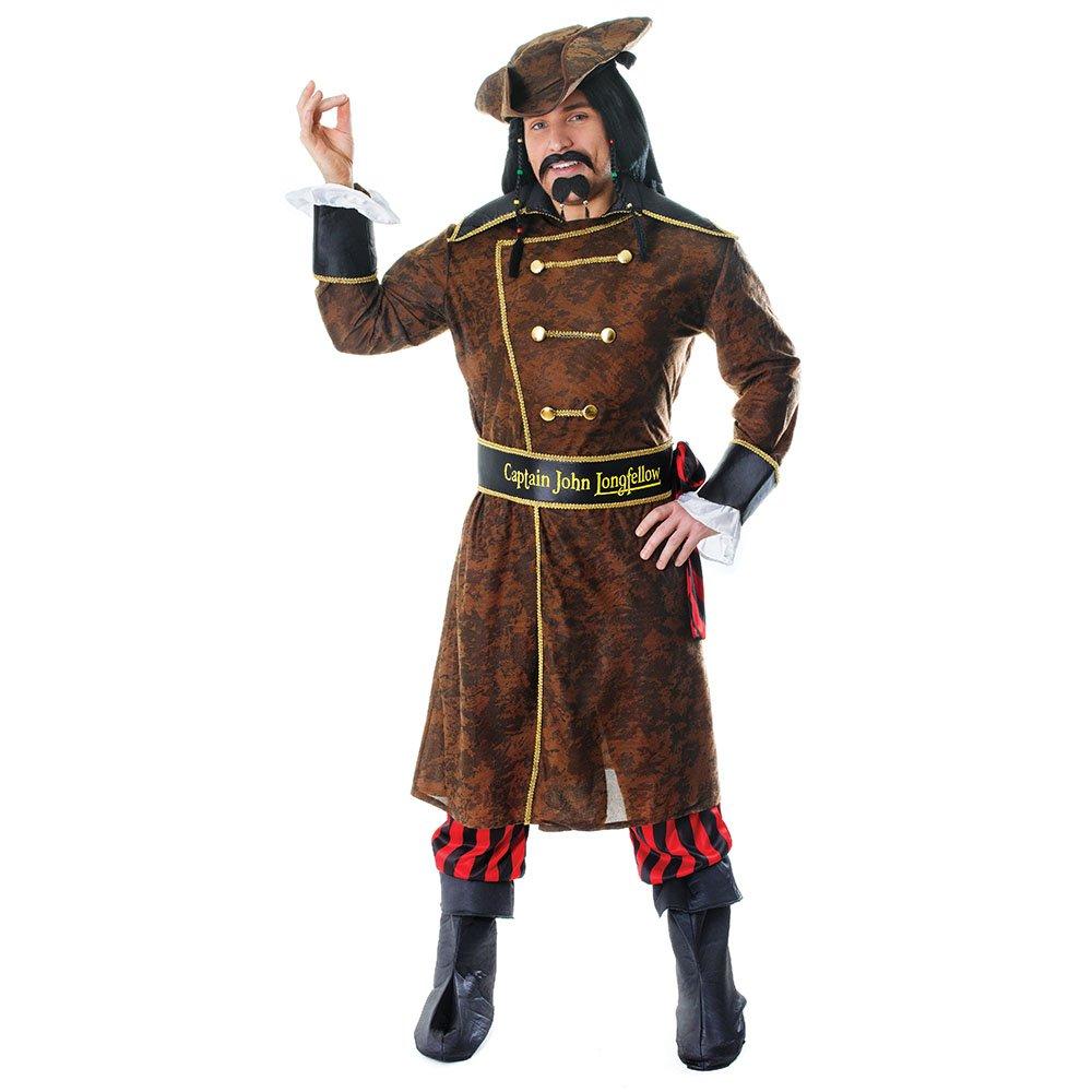 Bristol Novelty AC933 Costume da Pirata Captain John Longfellow, M