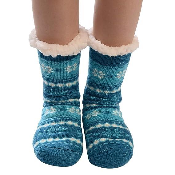 Kinlene Calcetines de algodón para mujeres de Navidad Imprimir gruesas antideslizantes Calcetines de piso Calcetines de alfombra: Amazon.es: Ropa y ...