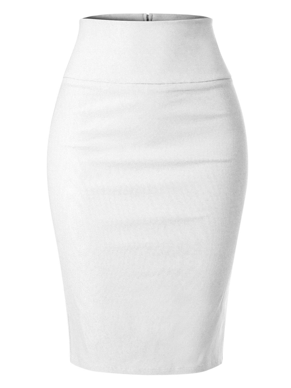 MixMatchy Women's Stretch Office Knee Length Midi Pencil Skirt White 3XL by MixMatchy