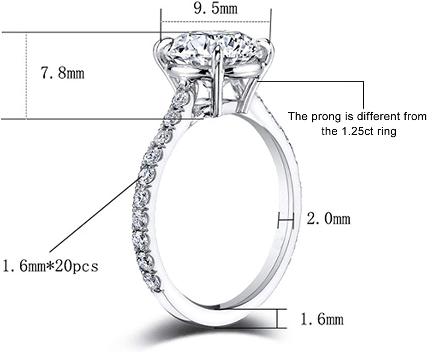 EAMTI 1.25 Carats 925 Sterling Silver Ring Oval Cut Cubic Zirconia Engagement Rings Solitaire Halo Promise Ring for Women Size 5-11