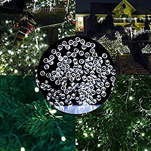 Solar Lights Outdoor 115ft 200 LED Fairy Lights, Ambiance lights for Patio, Lawn,Garden, Home, Wedding, Holiday, Christmas, Xmas Tree decoration,waterproof/Timer/USB Charge (cold white 115ft 300led)