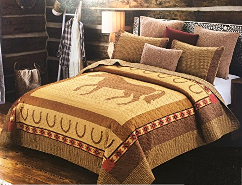 Plaid Horseshoe - 3pc King Size Country Western Ranch Lodge Cabin Horse Quilt Set with Horseshoe and Southwest Aztec Accents