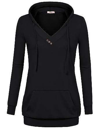 Timeson Women Long Sleeve V Neck Pullover Kangaroo Pocket ...