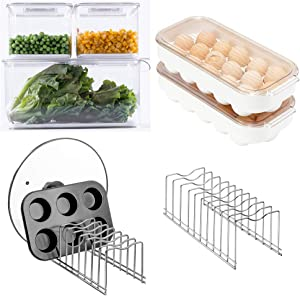 Fridge Food Storage Containers Produce Saver Lid Organizer Plate Drying Rack, Lid Holder Egg Holder for Refrigerator