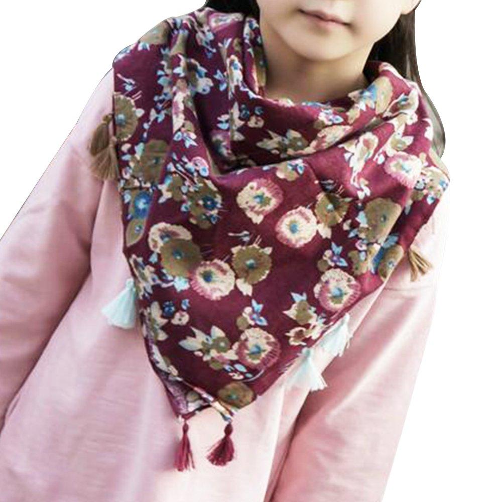 Eizur Bambini Ragazze Sciarpa Cotone Ragazza Scialle O Ring Scaldacollo con Nappa per Primavera / Autunno / Inverno Taglia 78*78cm - Tipo D