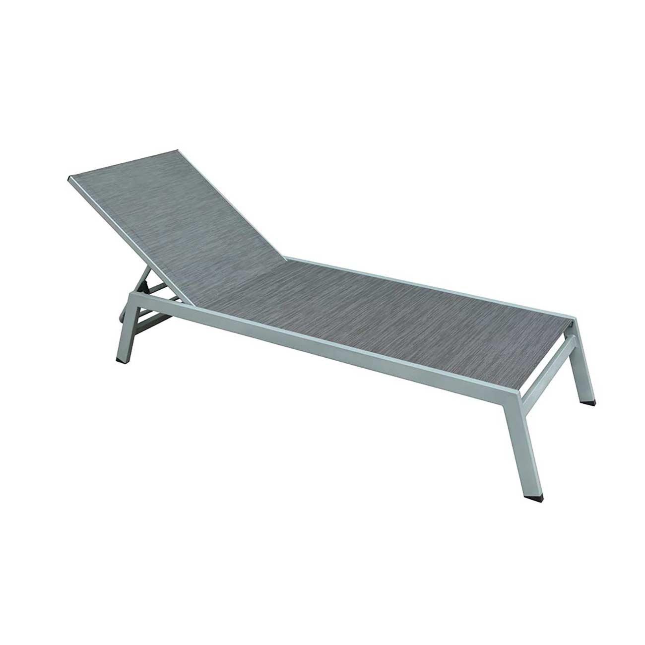 OUTLIV. Premium Sonnenliege Alu-Liege CRES Gartenliege Verstellbar Aluminium Textil Silber Anthrazit Terrassenliege Balkonliege Wetterfest