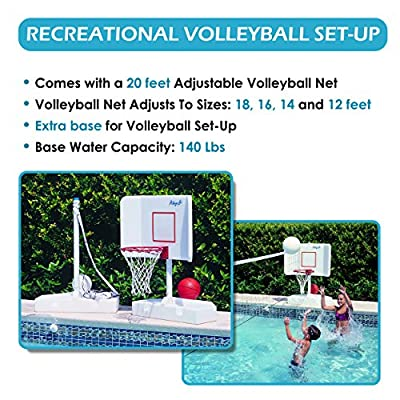 POOL SHOT 2-in-1 Poolside Volleyball/Basketball Combo with Anti-Tumbling Bases and Complete Accessories - Spike N Splash: Sports & Outdoors