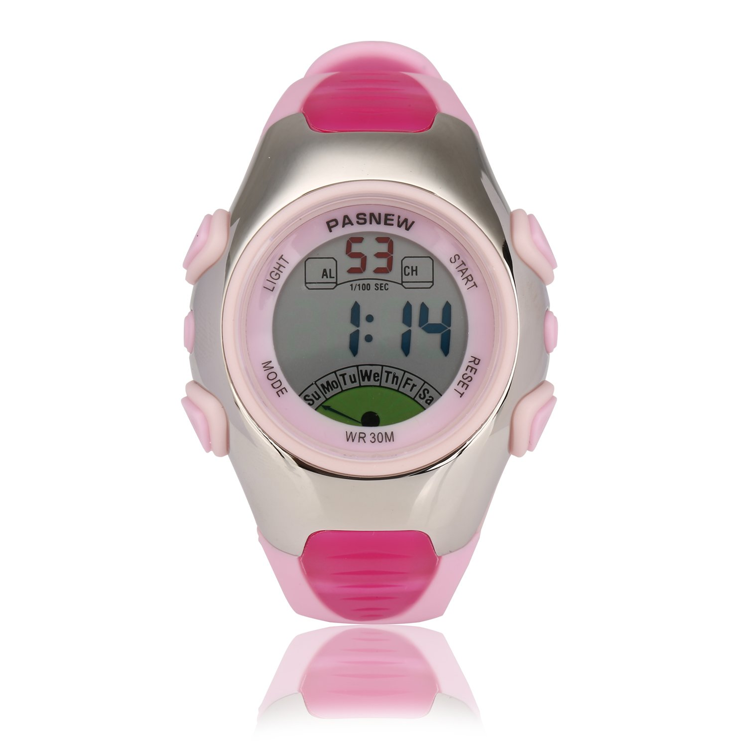 Kids Sport Watch | Multifunctional Wrist Clock | Digital Display | Waterproof| EL Backlight | Stopwatch | Chronograph | Alarm | Chime | PU Strap for Children Boys Girls (Pink) by HOWOD