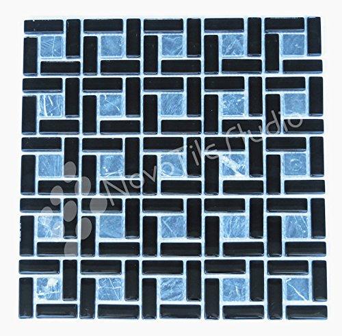 Box 10 Tiles Black Stone & Glass Mosaic Tile 12''x12'' CASININA-MX008 (10) by NovoTileStudio.com