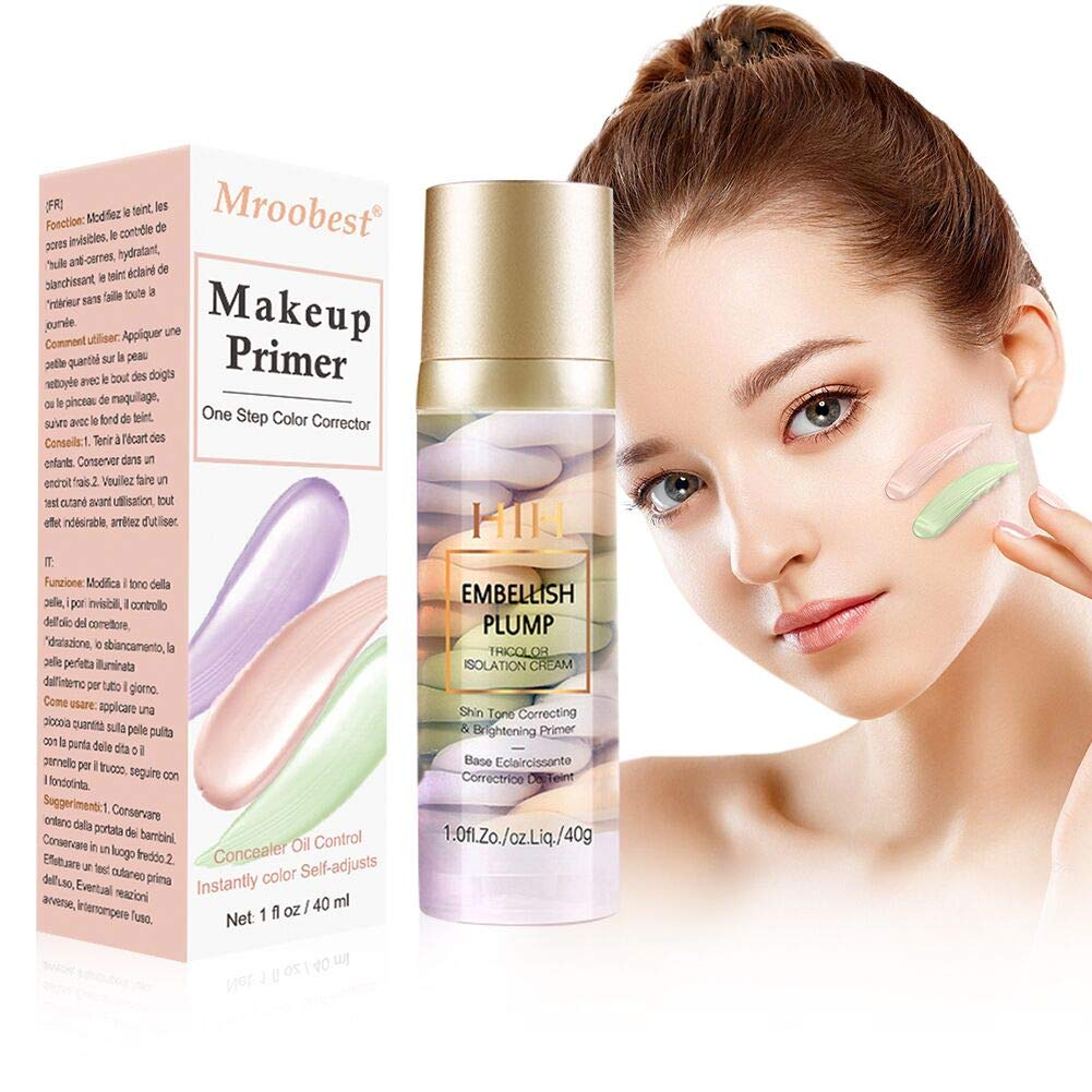 Makeup Primer, One Step Color Corrector, Isolation Cream, Skin Tone Correcting and Brightening Primer, Invisible Pore, Cover Acne Marks, Oil Control Moisturizing