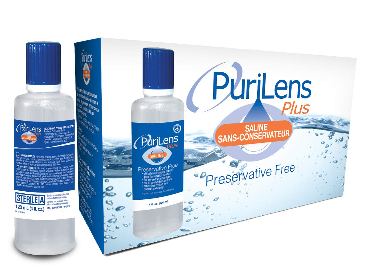 PuriLens Plus Preservative Free Saline Twelve 4-fl. oz(120-mL) Bottles