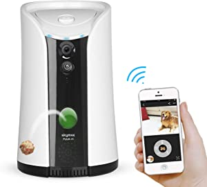 SKYMEE Dog Camera Treat Dispenser,WiFi Full HD Pet Camera with Two-Way Audio and Night Vision,Compatible with Alexa(Black)