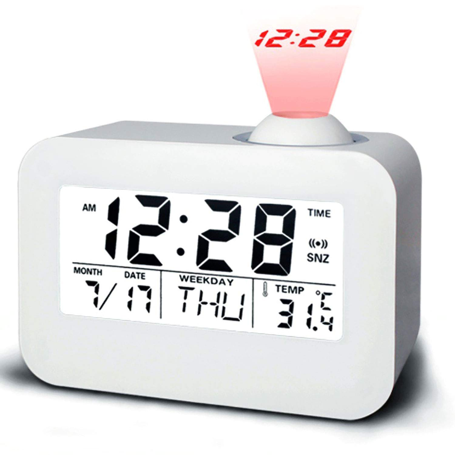 SUPPINNER Projection Alarm Clock, LED Display Digital Wall Celling Time Projector Clocks for Bedroom, with Date/Temperature/ Snooze/Hourly Chime/Sensor Alarm Clock for Travel Home Desk (White)