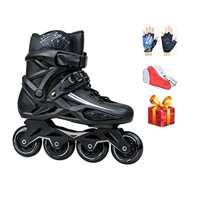Sljj Outdoor Adult Girls Professional White Inline Skates,High-end Breathable Boy Black Racing Skates Combo for Youth and Beginner (Color : Black, Size : 39 EU/7 US/6 UK/24.5cm JP): Home & Kitchen