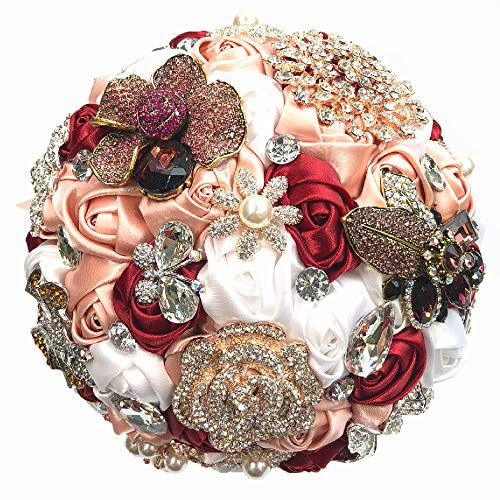 - Abbie Home Top Brooch Bouquet for Bride Wedding Roses in Blush Pink and Burgundy Pearls and Butterfly Rhinestone Accessories