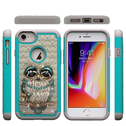 iPhone 6/6S/7/8 Plus Case,Slim Rugged 2 in 1 Hybrid Case Back Cover Hard PC with Colorful Pattern & Point Drill Inner Soft TPU Bumper Case Compatible ...