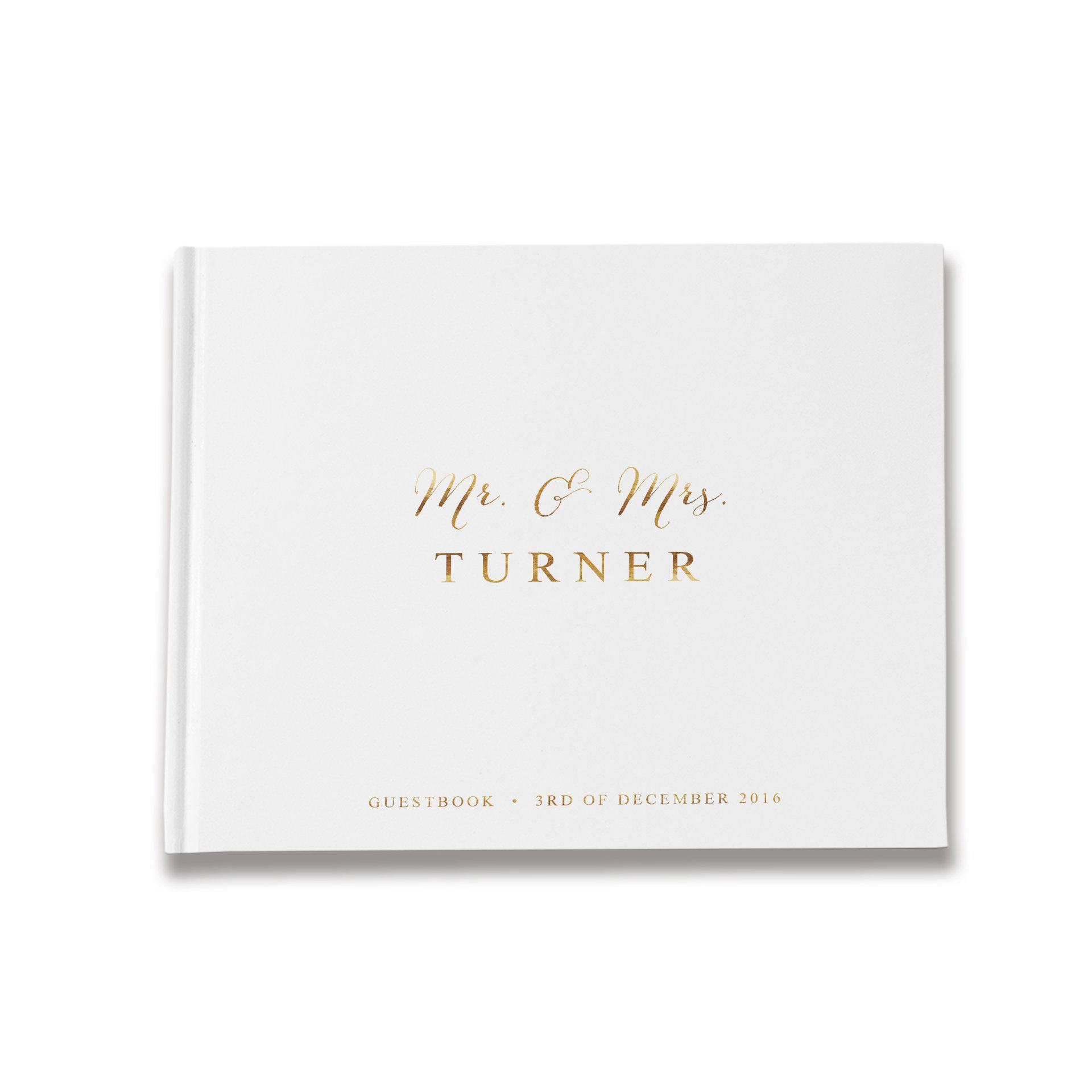 White Wedding Guest Book Gold, Wedding Guest Book Blank Pages, Custom Guestbook (10 x 8 inches)