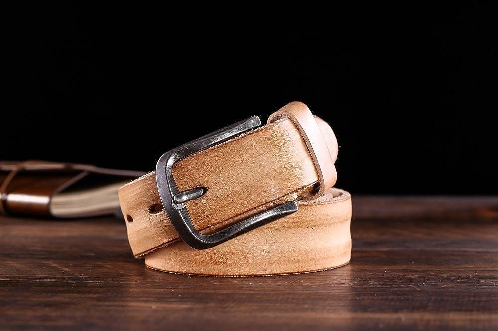 Belt for Men Handmade Genuine Leather Pin Buckle Belt