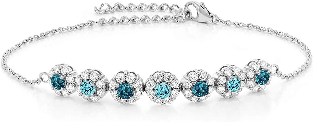 3.59 Ct Round Cut Gem Stone King 925 Sterling Silver Swiss Blue Topaz and White Topaz Women Tennis Bracelet