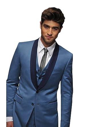 Modestil weltweit bekannt große Auswahl an Designs YZHEN Herren Schal Revers 3-teiliger Anzug Slim Fit Kleid ...