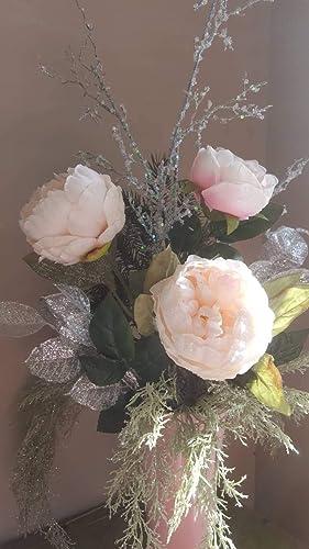 Christmas Flower Arrangements Artificial.Amazon Com Pink Holiday Decor Christmas Floral Xmas Decor