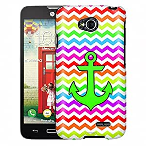 LG Optimus Exceed 2 Case, Slim Fit Snap On Cover by Trek Anchor on Chevron Rainbow White Case