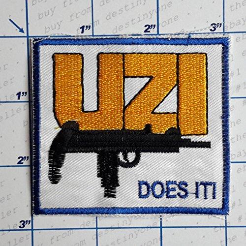 Mm Uzi 9 (MINEJ - 1 PC. GUNS - FIREARM MAKERS Patches - Iron-On Embroidered Gun Theme Patch Series - NEW # Imi Uzi 9mm)