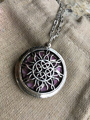 "Diffuser Necklace Essential Oils Pendant with 24"" Chain 5 Washable Pads, Aromatherapy Antique Silver Sun Catcher Tangled Round Locket 1.25"""