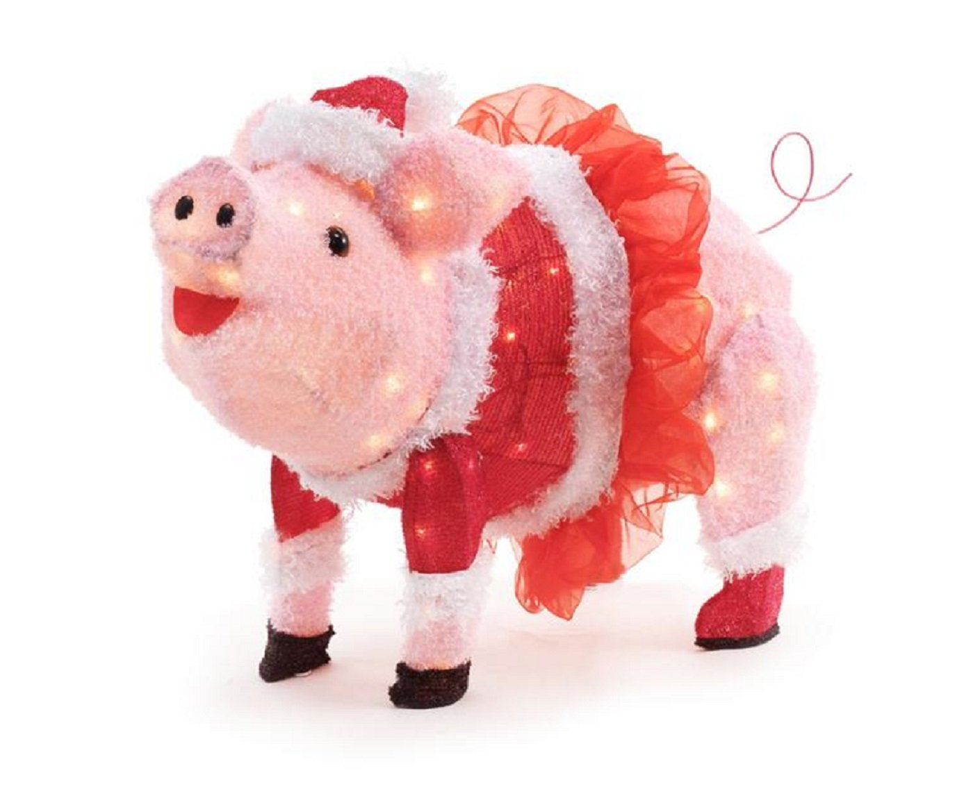 Home Accents Holiday 32IN 120L LED FUZZY PINK PIG WITH TUTU