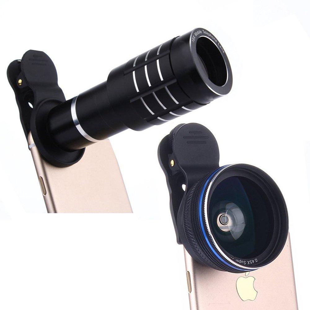 youniker 3 in 1カメラレンズキット、12 xズーム望遠レンズ+ 0.45 X広角レンズ+ 12.5 Xマクロレンズ、クリップオン、セル電話カメラレンズIphone 8 / 7 / 6 Plus、SAMSUNG、ほとんどのスマートフォンwith Tripod ブラック  ブラック B077CMCN18