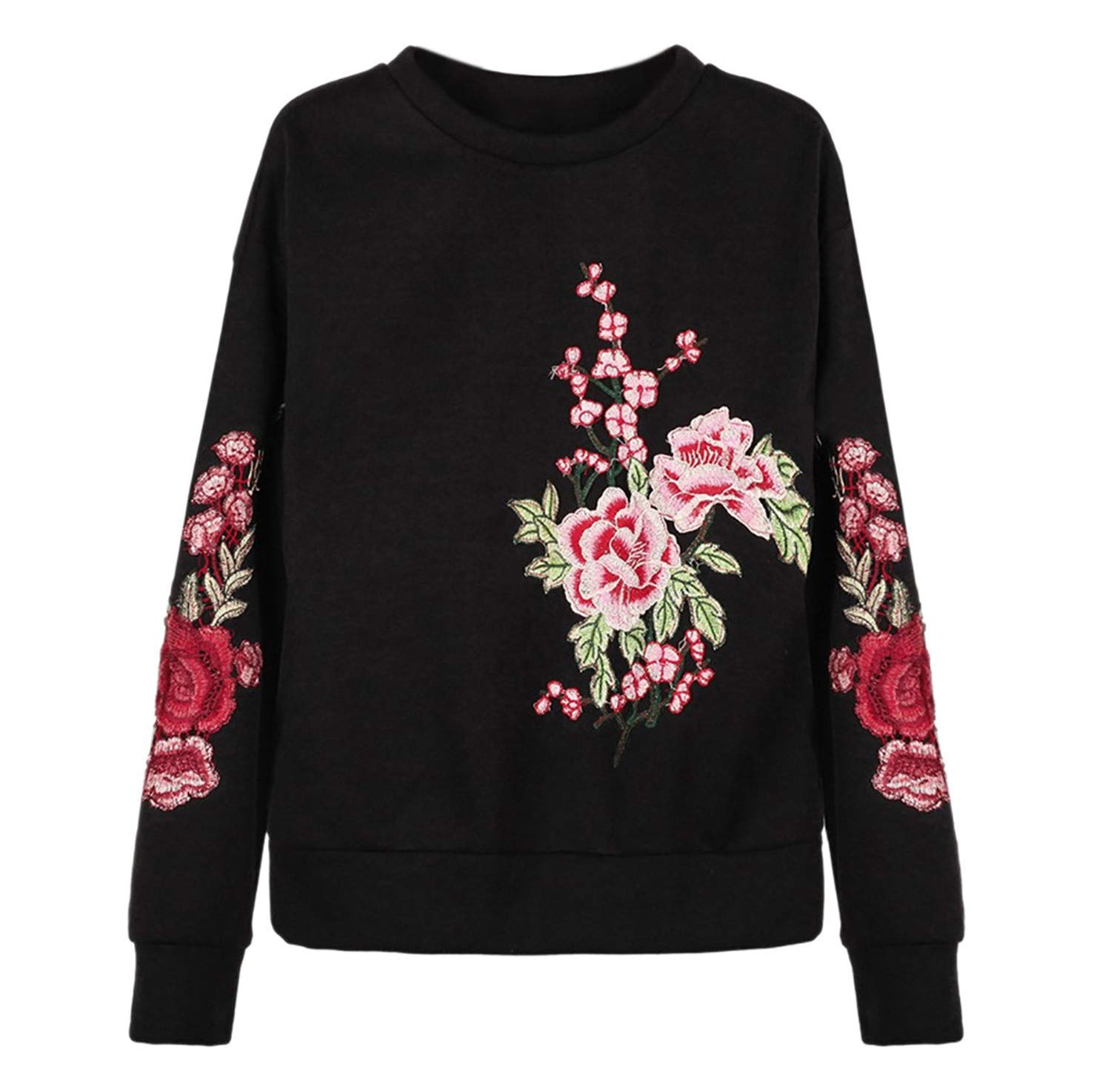 TIFENNY Fashion 2019 New Sweatshirt Women's Stripe Casual Long Sleeve Round Neck Embroidery Flower Pullover Hooded