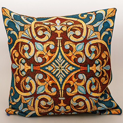 18' Stained Glass (Stained Glass Decorative Tapestry Throw Pillow. 18x18'')