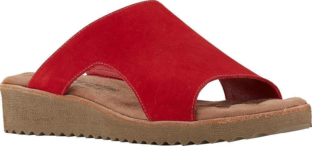 Red Nubuck Walking Cradles Womens Hartford Flat Sandal