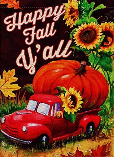 Dyrenson Home Decorative Happy Fall Yall Quote Garden Flag D