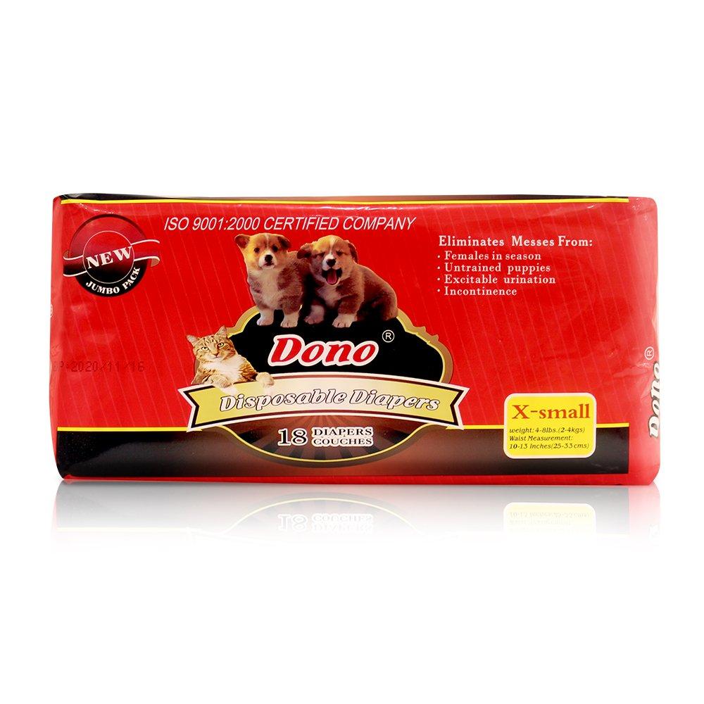 Pañales desechables para mascotas DONO para perros hembra (Súper absorbente y suave, pañales para calentar y hacer pañales XXS-M, incluidos 14-20 pañales ...